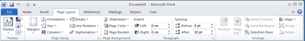 Environment -Display Of PAGE LAYOUT TAB In RIBBON