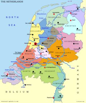 holandija mapa Holandske provincije holandija mapa
