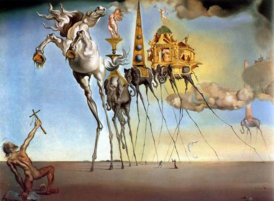 Contemporary abstract original paintings of colorful landscape and man - Salvador Dali
