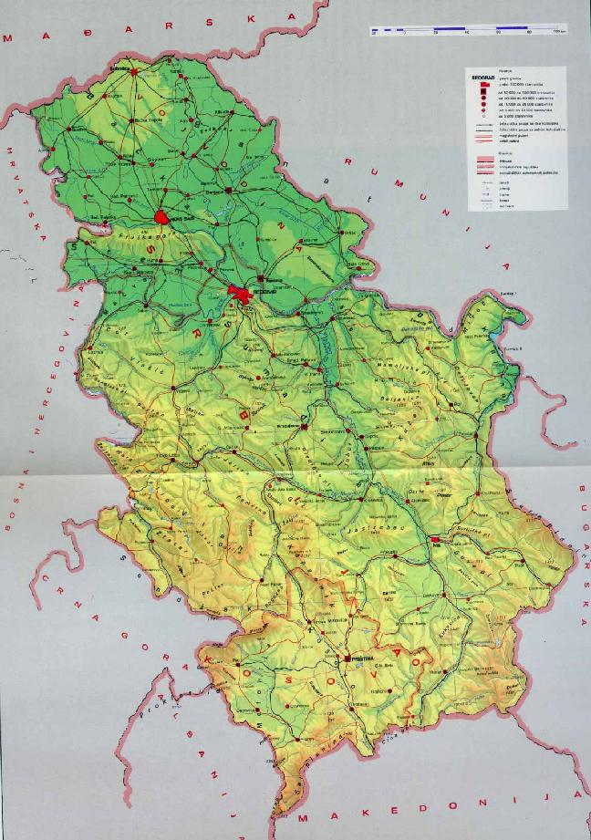 geografska karta srbije reljef GEOGRAFIJA geografska karta srbije reljef